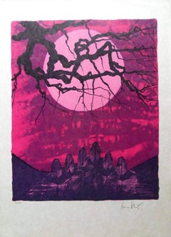 Pink Sunset on Field of Stones - Handsigned lithograph