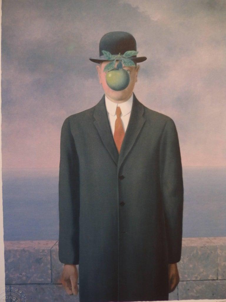 After ren magritte le fils de l homme lithograph for Rene magritte le faux miroir