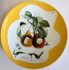 Hole Fruits with Rhinoceros - Porcelain dish (Imperial yellow finish)