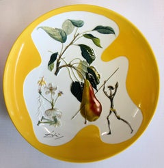 (after) Salvador Dali - Flordali : Don Quichotte Pear - Porcelain dish (Imperial yellow finish)