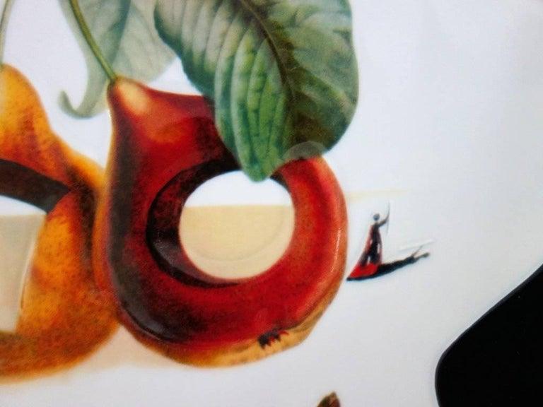 Hole Fruits with Rhinoceros - Porcelain dish (Black finish) For Sale 2