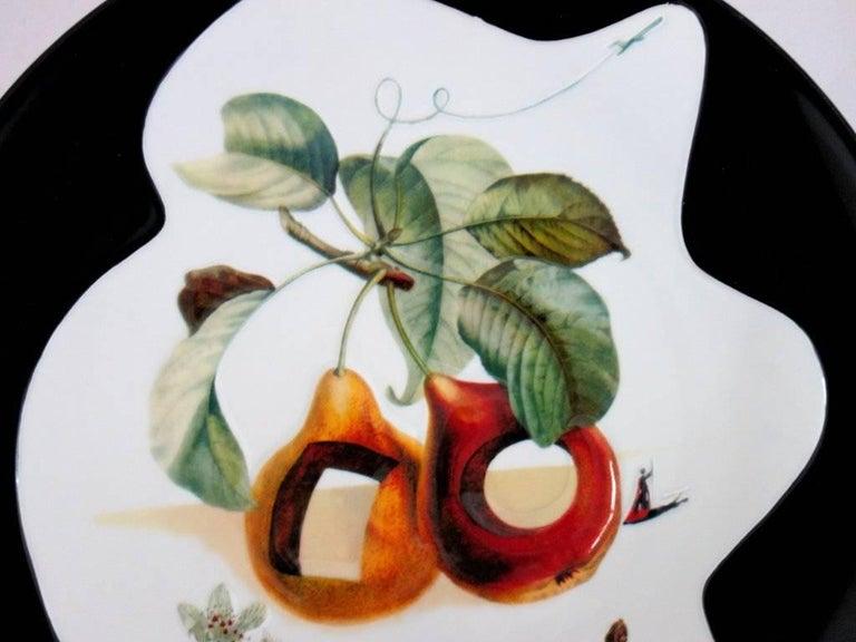 Hole Fruits with Rhinoceros - Porcelain dish (Black finish) For Sale 3