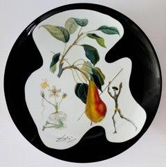Flordali : Don Quichotte Pear - Porcelain dish (black finish)