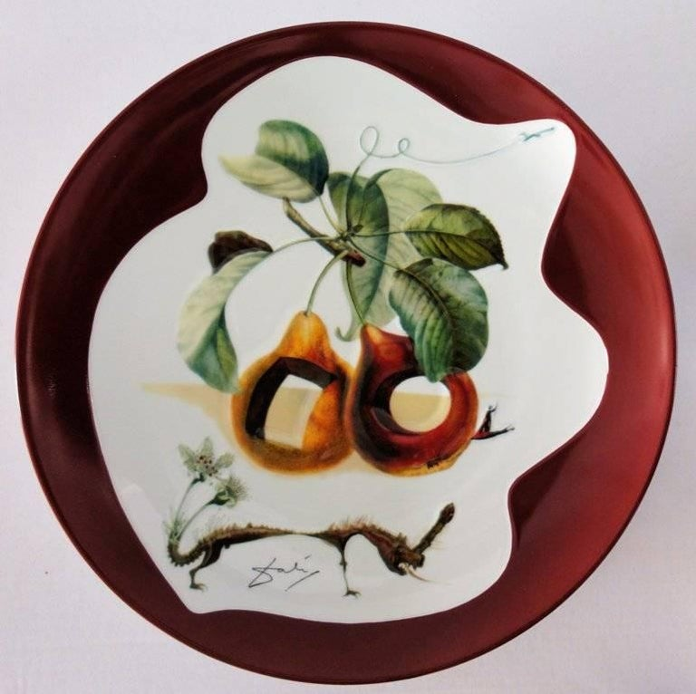 (after) Salvador Dali Figurative Sculpture - Hole Fruits with Rhinoceros - Porcelain dish (Bordeaux red finish)