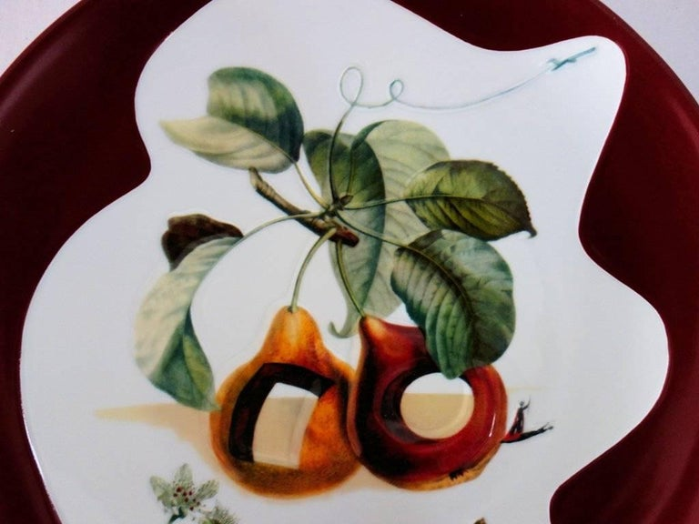 Hole Fruits with Rhinoceros - Porcelain dish (Bordeaux red finish) - White Figurative Sculpture by (after) Salvador Dali