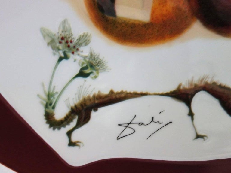 Hole Fruits with Rhinoceros - Porcelain dish (Bordeaux red finish) - Sculpture by (after) Salvador Dali