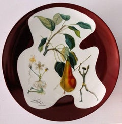 Flordali : Don Quichotte Pear - Porcelain dish (Bordeaux red finish)
