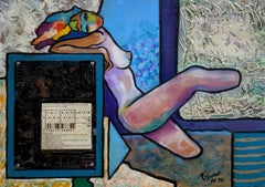 Nude with Zip Code - Original painting on panel - Handsigned