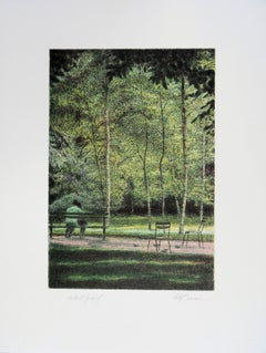 New York : Lovers in Central Park - Original handsigned lithograph