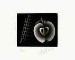 Pisa Tower and Apple - Original handsigned black-manner etching - 100 copies