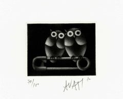 Couple of Owls - Original handsigned black-manner etching - 100 copies