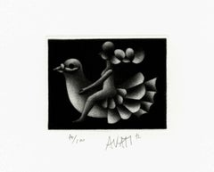 Woman Riding a Dove - Original handsigned black-manner etching - 100 copies