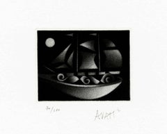 Sailboat in the Moonligh - Original handsigned black-manner etching - 100 copies