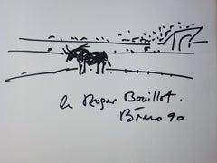 Bull in Arena - Original Handsigned Ink Drawing