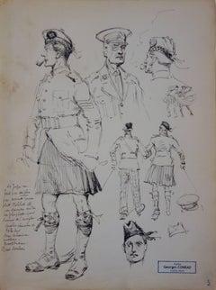 Studies of Scotish Officers - Ink drawing - circa 1916
