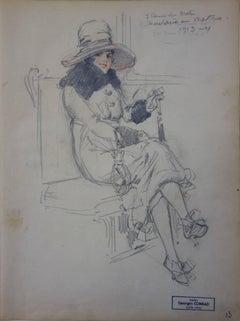 Secretary in the Subway - Pencil drawing - circa 1913