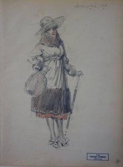 Elegant Woman Seen in Cafe de la Paix (Paris) - Pencil drawing - circa 1914