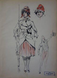 French Marianne and Uncle Sam - Ink drawing - circa 1914