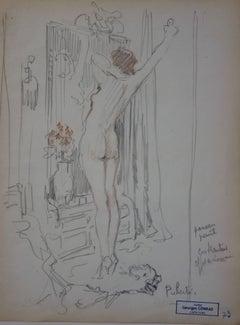 Morning toilet - Pencil drawing - circa 1914