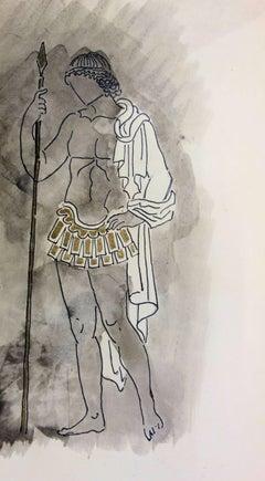 Hemon : Greek Guard Costume - Original watercolor drawing