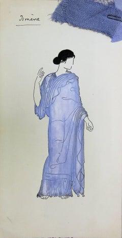 Ismène : Antique Greek costume - Original watercolor drawing