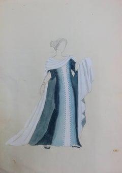 Blue dress : Antique Greek costume - Original watercolor drawing