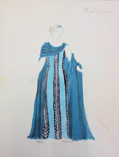 Pénélope : Greek Woman's costume - Original watercolor drawing