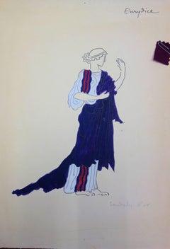 Eurydice : Antique Greek costume - Original watercolor drawing