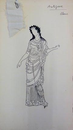 Antigone : Antique Greek costume - Original Ink Drawing