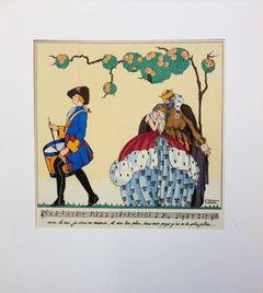 King, Queen and Musician - Original pochoir