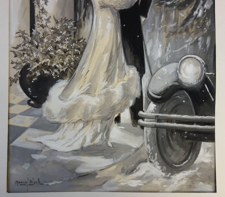 1920's Elegant Couple in the Snow - Original handsigned watercolor - 1930 - Art by Marcel Bloch