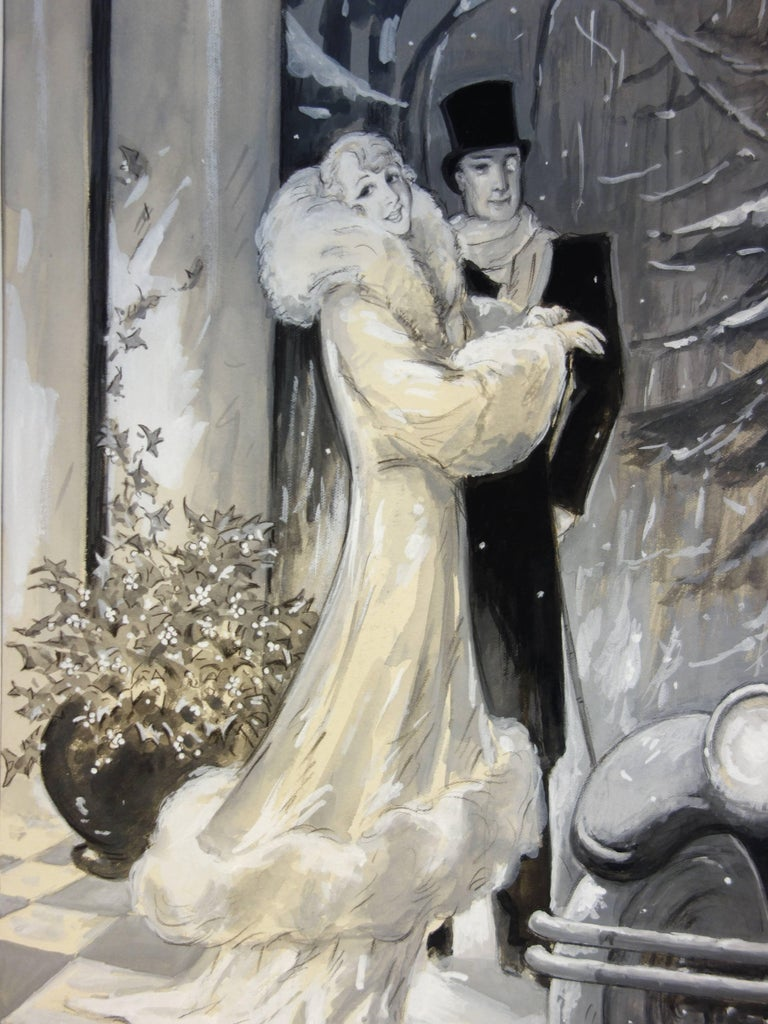 Marcel Bloch Figurative Art - 1920's Elegant Couple in the Snow - Original handsigned watercolor - 1930
