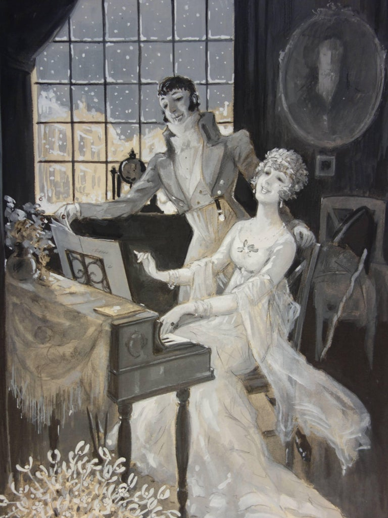 Piano Lesson on a Snowing Day - Original handsigned watercolor - 1930 - Art Nouveau Art by Marcel Bloch