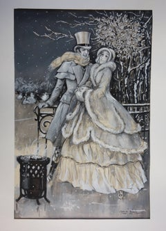 Elegant Lovers at the Rink - Original handsigned watercolor - 1930