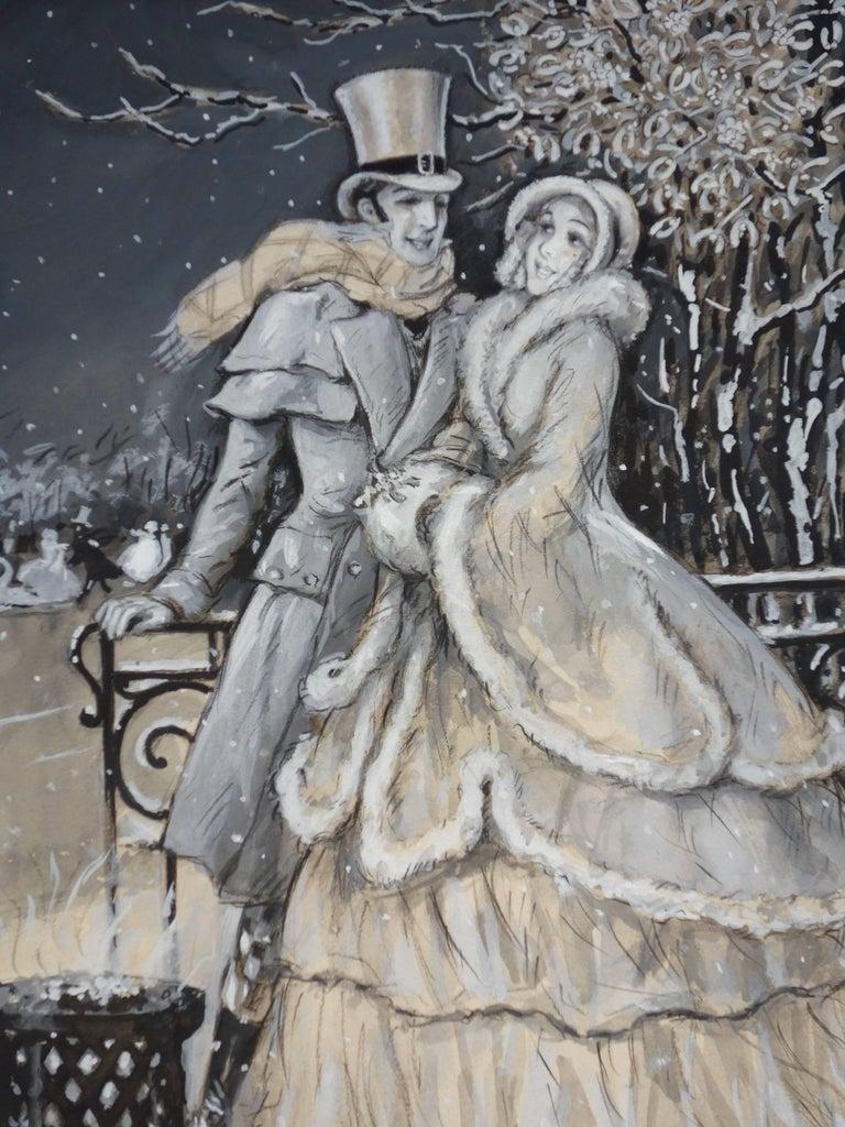 Elegant Lovers at the Rink - Original handsigned watercolor - 1930 - Art Nouveau Art by Marcel Bloch