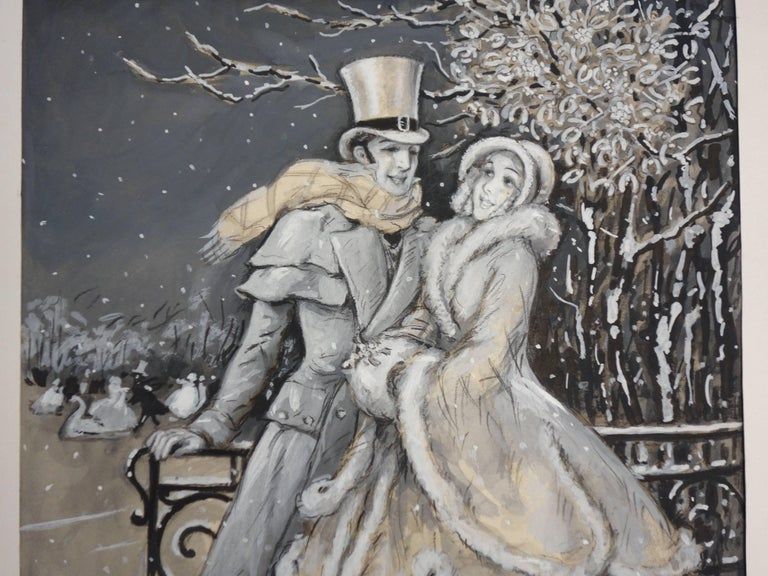 Elegant Lovers at the Rink - Original handsigned watercolor - 1930 - Gray Figurative Art by Marcel Bloch