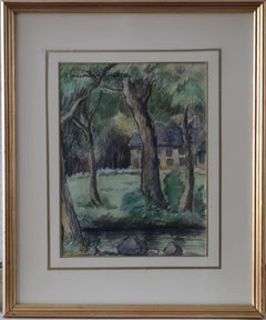 The House Near the River - Original watercolor painting - Signed