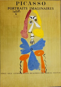 Imaginary Portraits : Man with a Blue Scarf - Lithograph - 1971