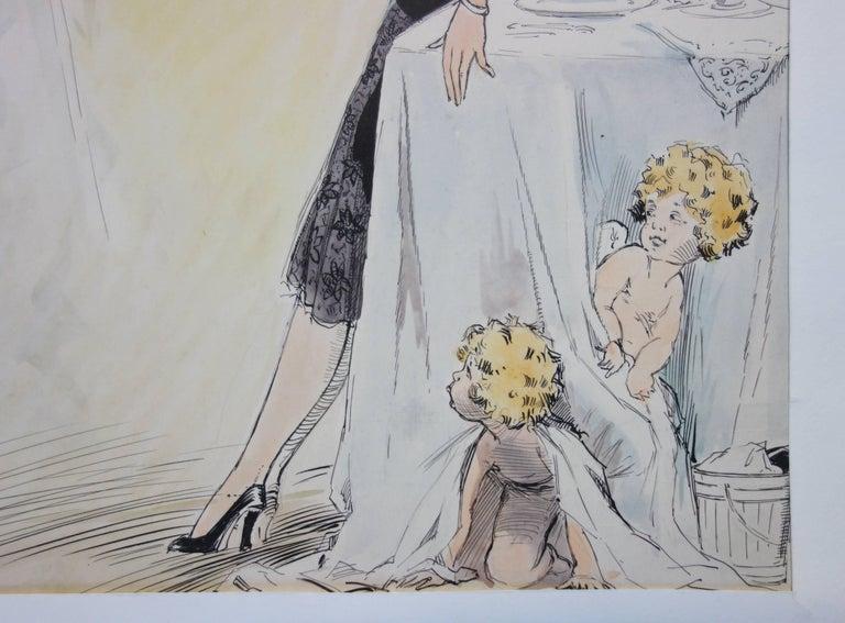 Divine Champagne - Original watercolor - circa 1930 - Art Nouveau Art by Alfred Renaudin (Naudy)