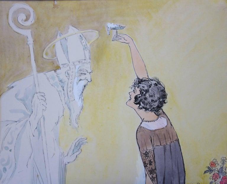 Divine Champagne - Original watercolor - circa 1930 - Art by Alfred Renaudin (Naudy)