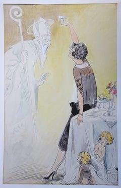 Divine Champagne - Original watercolor - circa 1930