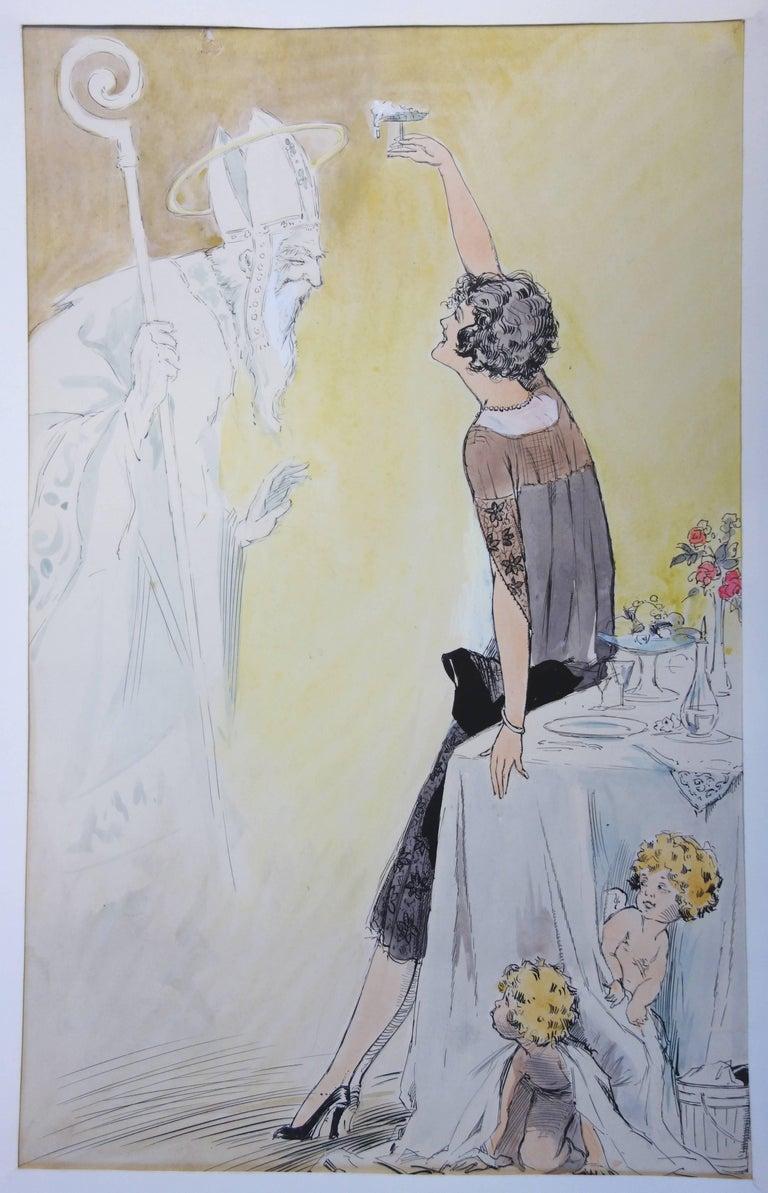 Alfred Renaudin (Naudy) Figurative Art - Divine Champagne - Original watercolor - circa 1930