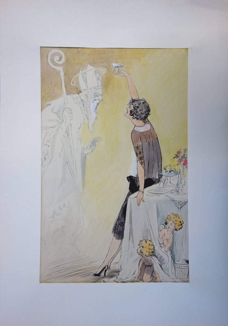 Alfred RENAUDIN Divine Champagne  Original watercolor c. 1930 On wove paper 34 x 21 cm at view (c. 14 x 8 in)  Excellent condition