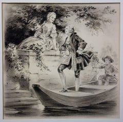 Lover Arriving on a Boat - Original handsigned drawing - 1931