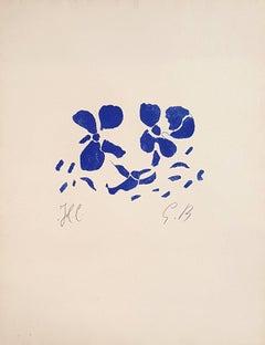 Blue Flowers - Original Etching Monogrammed