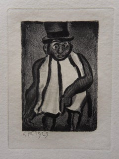 Elegant Man with a Top Hat - Original etching - 1929
