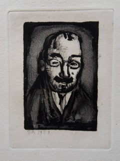 Man with Glasses - Original etching - 1929