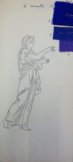 Eurydice : Antique Greek costume - Original Ink Drawing