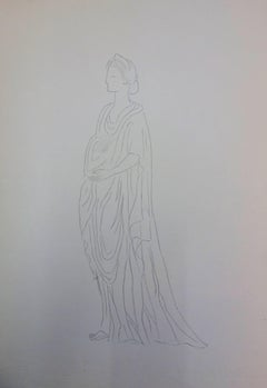 Phaedra : Antique Greek costume - Original Ink Drawing