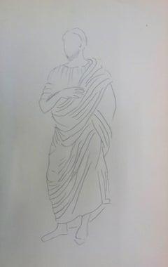 Philosopher: Antique Greek costume - Original Pencil Drawing